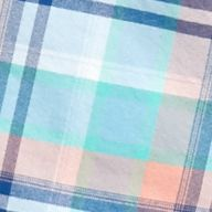 Mens Casual Shirts: Check & Plaid: Blue/Peach Saddlebred 1888 Tailored Plaid Oxford Shirt