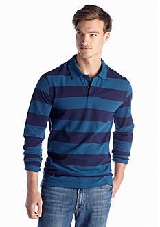 Saddlebred® Long Sleeve Stripe Pique Polo