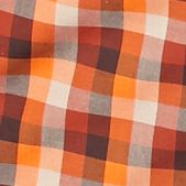 Mens Short Sleeve Woven Shirts: Orange Gingham Saddlebred Long Sleeve CVC Gingham Shirt