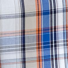 Non Iron: White/Blue/Orange Saddlebred Long Sleeve Wrinkle Free Plaid Woven Shirt