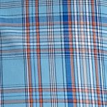 Non Iron: Casual Shirts: Light Blue/Orange Saddlebred Long Sleeve Wrinkle Free Plaid Woven Shirt