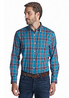 Saddlebred Long Sleeve Wrinkle Free Plaid Woven Shirt