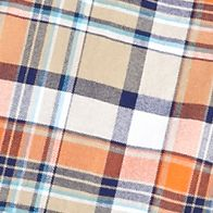 Men: Saddlebred Casual Shirts: Orange/Khaki Saddlebred Long Sleeve Plaid Oxford