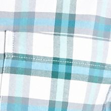 Men: Saddlebred Casual Shirts: Aqua Plaid Saddlebred Long Sleeve Plaid Oxford Shirt