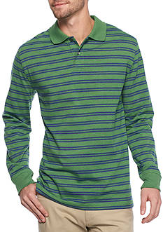 Saddlebred Long Sleeve Sueded Striped Polo Shirt