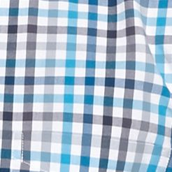 Men: Saddlebred Casual Shirts: Blue Gingham Saddlebred 1888 Tailored Poplin Plaid Shirt