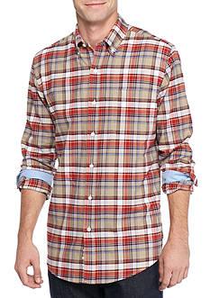 Saddlebred Long Sleeve Medium Plaid Oxford Shirt