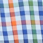 Mens Casual Shirts: Check & Plaid: Blue Multi Saddlebred Long Sleeve Small Gingham Easy Care Shirt