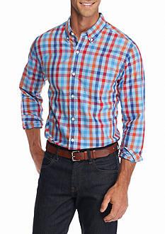 Saddlebred 1888 Long Sleeve Tailored Gingham Poplin Shirt