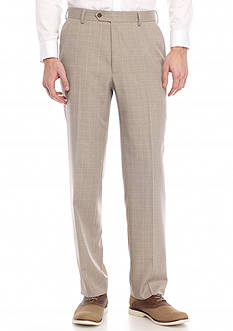 Saddlebred Classic-Fit Flat Front Tan Plaid Suit Separate Pants