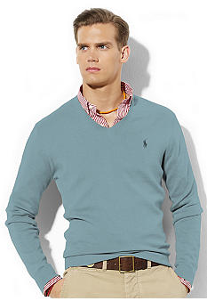 Long-Sleeved Pima Cotton V-Neck Sweater