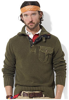 Combed Cotton Mockneck Pullover