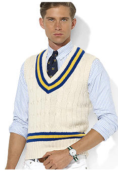 Cotton-Blend Cricket Cable Vest