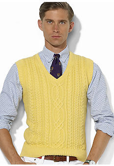 Polo Ralph Lauren Cotton-Cashmere V-Neck Cable Vest