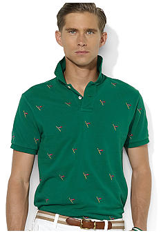 Polo Ralph Lauren Custom-Fit Embroidered-Flag Mesh Polo