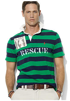 Polo Ralph Lauren Big & Tall Classic-Fit Short-Sleeved Striped River-Themed Rugby