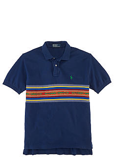 Polo Ralph Lauren Classic-Fit Jacquard Striped-Panel Mesh Polo