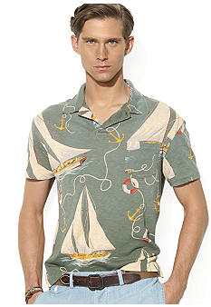 Polo Ralph Lauren Sailboat-Print Gauze Jersey Polo