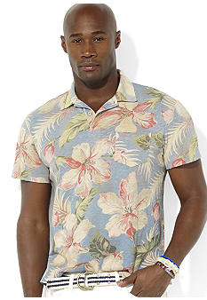 Polo Ralph Lauren Big & Tall Short-Sleeved Hibiscus-Print Knit Jersey Polo