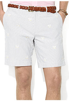 Polo Ralph Lauren Suffield Embroidered Silk-Cotton Seersucker Shorts