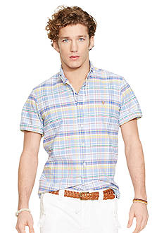 Polo Ralph Lauren Short-Sleeved Plaid Oxford Shirt