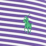 Performance Polo Shirts for Men: Pure White/Exotic Purple Polo Ralph Lauren Striped Performance Polo Shirt