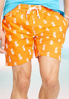 Polo Ralph Lauren Pineapple-Print Traveler Swim Shorts