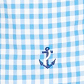 Men: Swimwear Sale: Jewel Blue Polo Ralph Lauren Gingham Traveler Swim Trunks