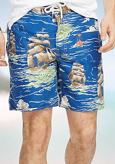 Polo Ralph Lauren Ship-Print Palm Island Swim Trunks