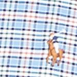 Mens Designer Casual Shirts: Blue/Orange Polo Ralph Lauren Checked Oxford Shirt