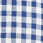 Big and Tall Designer Clothes: Casual  Button Down Shirts: Chateau Blue/White Polo Ralph Lauren Big & Tall Gingham Linen Estate Shirt