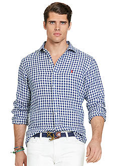 Polo Ralph Lauren Big & Tall Gingham Linen Estate Shirt