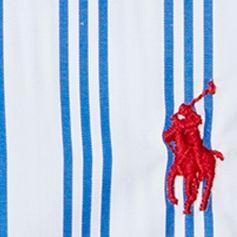 Mens Designer Dress Shirts: Blue/White Polo Ralph Lauren Striped Poplin Dress Shirt