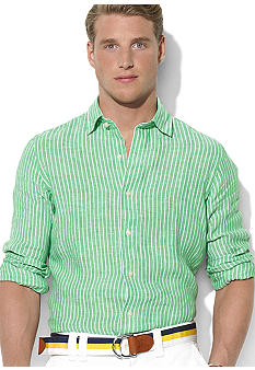 Polo Ralph Lauren Custom Spread-Collar Striped Linen Shirt