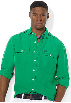 Polo Ralph Lauren Military G.I. Linen-and-Silk Epaulet Shirt