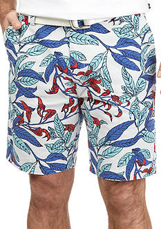Nautica Flat-Front Trim Fit Leaf Print Shorts
