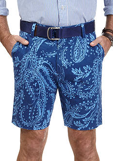 Nautica Trim-Fit Paisley Print Flat-Front Twill Shorts