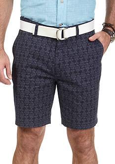Nautica Trim Fit Fish Print Flat Front Twill Shorts