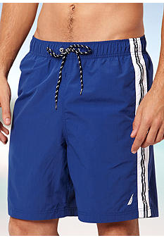 Nautica Big & Tall Solid Side Stripe Swim Trunks