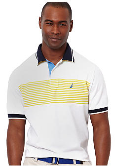 Nautica Stripe Pieced Polo Knit