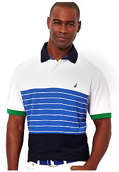 Nautica Jeans Company Performance Pieced Stripe Polo Knit