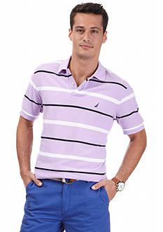 Nautica Short Sleeve Striped Deck Polo