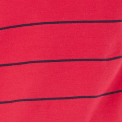 Mens Short Sleeve Polo Shirts: Persian Red Nautica Short Sleeve Striped Performance Deck Polo Shirt