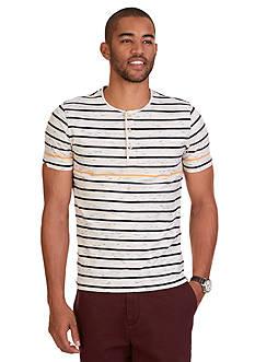 Nautica Slim Fit Striped Short Sleeve Henley Shirt