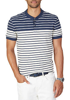 Nautica Slim Fit Striped Short Sleeve Henley Shirt