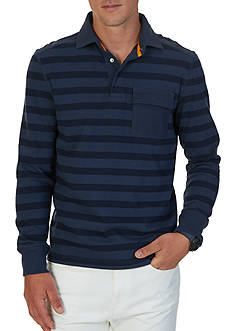 Nautica Slim Fit Striped Long Sleeve Polo Shirt