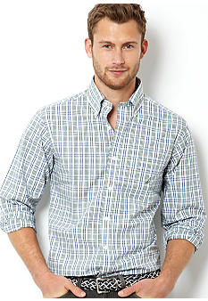 Nautica Big & Tall Poplin Multi Plaid Shirt