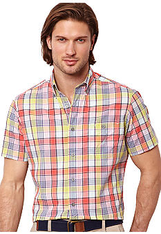 Nautica Big & Tall Madras Plaid Short Sleeve Shirt