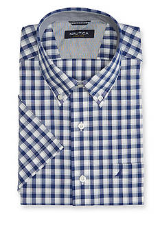 Nautica Big & Tall Wrinkle Resistant Gingham Short Sleeve Shirt