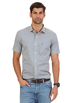 Nautica Big & Tall Wrinkle Resistant Union Plaid Short Sleeve Shirt